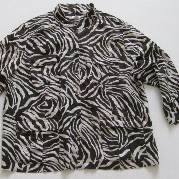 Chico's Tops - CHICOS Shirt 4 Womens Blouse Zebra Print Linen
